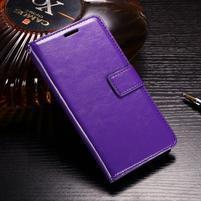 Horse PU kožené peňaženkové puzdro na OnePlus 5T - fialové