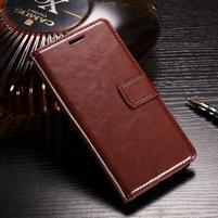Horse PU kožené peňaženkové puzdro na OnePlus 5T - hnedé