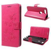 Butterfly PU kožené puzdro na OnePlus 5T - rose