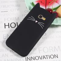 Cat 3D silikónový obal na Samsung Galaxy A3 (2017) - čierny