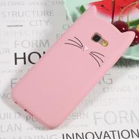 Cat 3D silikónový obal na Samsung Galaxy A3 (2017) - ružový