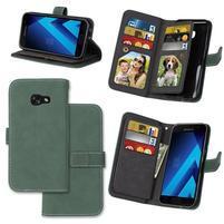 Matte peňaženkové puzdro s 9 priehradkami na Samsung Galaxy A3 (2017) - zelené