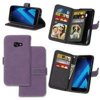 Matte peňaženkové puzdro s 9 priehradkami na Samsung Galaxy A3 (2017) - fialové