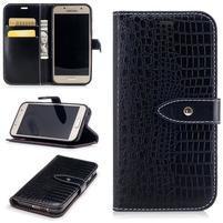 Crocostyle PU kožené puzdro na mobil Samsung Galaxy A3 (2017) - čierne