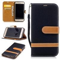 Jeany textilné/PU kožené puzdro na Samsung Galaxy A3 (2017) - čierne
