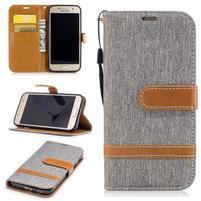 Jeany textilné/PU kožené puzdro na Samsung Galaxy A3 (2017) - sivé