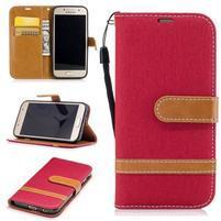 Jeany textilné/PU kožené puzdro na Samsung Galaxy A3 (2017) - červené