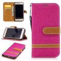 Jeany textilné/PU kožené puzdro na Samsung Galaxy A3 (2017) - rose