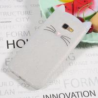 Cat 3D silikónový obal na Samsung Galaxy A3 (2017) - biely