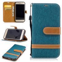 Jeany textilné/PU kožené puzdro na Samsung Galaxy A3 (2017) - modrozelené