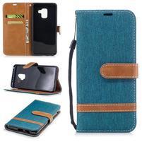 Jeans PU kožené/ textilné puzdro na mobil Samsung Galaxy A8 (2018) - zelenomodré