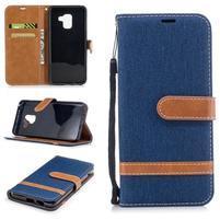 Jeans PU kožené/ textilné puzdro na mobil Samsung Galaxy A8 (2018) - tmavomodré