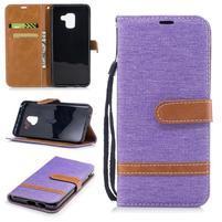 Jeans PU kožené/ textilné puzdro na mobil Samsung Galaxy A8 (2018) - fialové