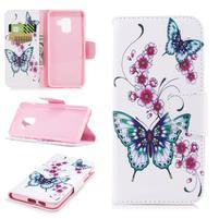 Emotive PU kožené zapínacie puzdro na Samsung Galaxy A8 (2018) - kvety a motýle