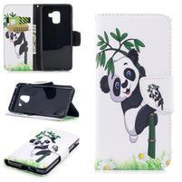 Emotive PU kožené zapínacie puzdro na Samsung Galaxy A8 (2018) - panda na bambuse