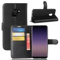 Litchi PU kožené knižkové puzdro na Samsung Galaxy A8 (2018) - čierne