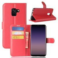 Litchi PU kožené knižkové puzdro na Samsung Galaxy A8 (2018) - červené