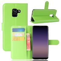 Litchi PU kožené knižkové puzdro na Samsung Galaxy A8 (2018) - zelené