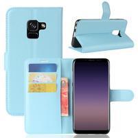 Litchi PU kožené knižkové puzdro na Samsung Galaxy A8 (2018) - modré