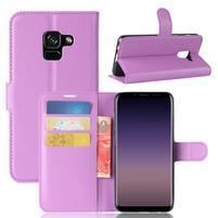 Litchi PU kožené knižkové puzdro na Samsung Galaxy A8 (2018) - fialové