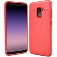 IVS odolný gélový obal s texturovaným chrbtom na Samsung Galaxy A8 (2018) - červený