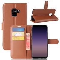 Litchi PU kožené knižkové puzdro na Samsung Galaxy A8 (2018) - hnedé