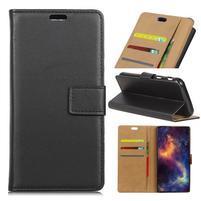Wallet PU kožené puzdro na Samsung Galaxy A6+ (2018) - čierne