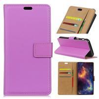 Wallet PU kožené puzdro na Samsung Galaxy A6+ (2018) - fialové