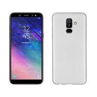 Carbon silikónový obal na Samsung Galaxy A6 Plus - strieborný