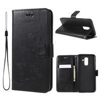 Butterfly PU kožené puzdro na Samsung Galaxy A6 Plus - čierne