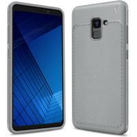 IVS odolný gélový obal s texturovaným chrbtom na Samsung Galaxy A7 (2018) - sivý