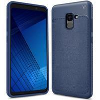 IVS odolný gélový obal s texturovaným chrbtom na Samsung Galaxy A7 (2018) - tmavomodrý