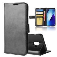 Standy PU kožené zapínacie puzdro na Samsung Galaxy A7 (2018) - čierne