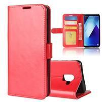 Standy PU kožené zapínacie puzdro na Samsung Galaxy A7 (2018) - červené