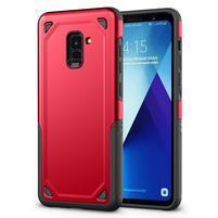 Rougy hybridný odolný obal na Samsung Galaxy A8 Plus (2018) - červený