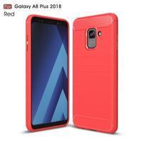 Carbon odolný gélový obal s textúrou na Samsung Galaxy A8 Plus (2018) - červený