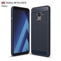 Carbon odolný gélový obal s textúrou na Samsung Galaxy A8 Plus (2018) - tmavomodrý