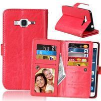 Slots PU kožené puzdro s 9 priehradkami na Samsung Galaxy J3 (2016) - červené