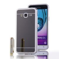 Zrkadlový gélový obal na Samsung Galaxy J3 (2016) - čierny