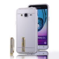 Zrkadlový gélový obal na Samsung Galaxy J3 (2016) - strieborný