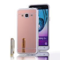 Zrkadlový gélový obal na Samsung Galaxy J3 (2016) - rosegold