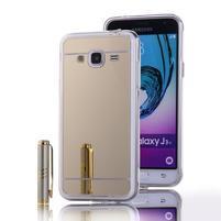 Zrkadlový gélový obal na Samsung Galaxy J3 (2016) - zlatý