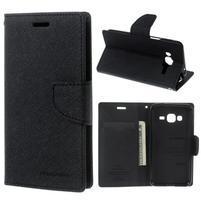Diary PU kožené peňaženkové puzdro na Samsung Galaxy J3 (2016) - čierne