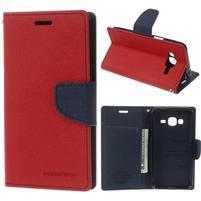 Diary PU kožené peňaženkové puzdro na Samsung Galaxy J3 (2016) - červené