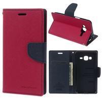 Diary PU kožené peňaženkové puzdro na Samsung Galaxy J3 (2016) - rose