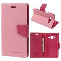 Diary PU kožené peňaženkové puzdro na Samsung Galaxy J3 (2016) - ružové