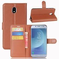 Grain knížkové puzdro pre mobil Samsung Galaxy J3 (2017) - hnedé