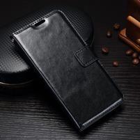 Wallet PU kožené puzdro pre Samsung Galaxy J3 (2017) - čierné