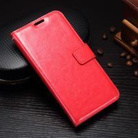 Wallet PU kožené puzdro pre Samsung Galaxy J3 (2017) - červené
