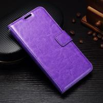 Wallet PU kožené puzdro pre Samsung Galaxy J3 (2017) - fialové